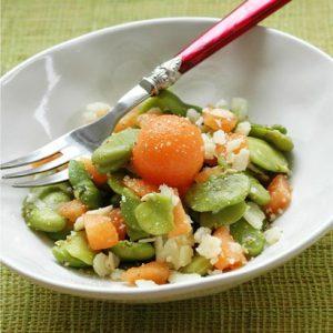 Salade de fèves au melon et pecorino