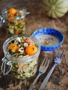 Salade quinoa, melon figues et féta